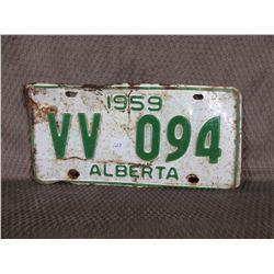 Single Alberta 1959 License Plate
