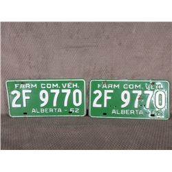 Set of Alberta 1962 License Plates