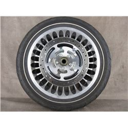 Used 130/80B17 M/C 65H Dunlop D408F H-D Front Tire on H-D Wheel T17X 3.00 MT