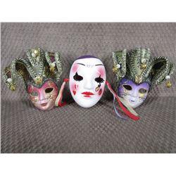 3 - Painted Face Masks, 1 Ceramic, 2 Plastic - Wall Décor