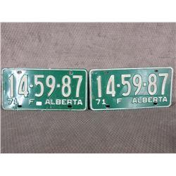 Set of 2 1971 Alberta Farm License Plates