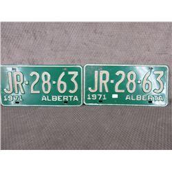 Set of 2 1971 Alberta License Plates