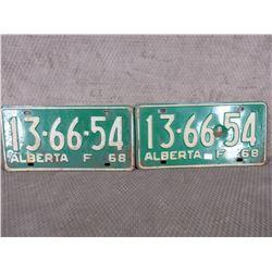 Set of 2 1968 Alberta Farm License Plates