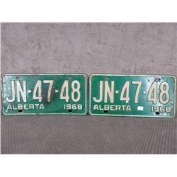Set of 2 1968 Alberta License Plates