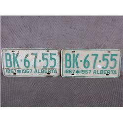 Set of 2 1967 Centennial Alberta License Plates