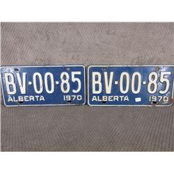 Set of 2 1970 Alberta License Plates