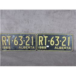 Set of 2 1969 Alberta License Plates