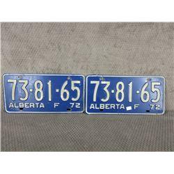 Set of 2 1972 Alberta Farm License Plates