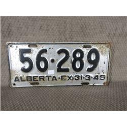 1949 Alberta License Plate
