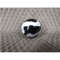 Vintage Large Black, White &  Brown Marble 1 3/8 inch