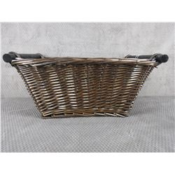 Brown Wicker Basket with Wood Handles 18 in X 13 In X 8 in