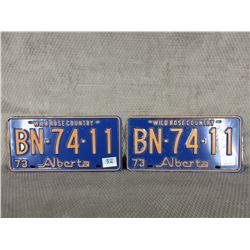 Set of 1973 Alberta License Plate