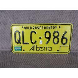 Alberta License Plate No Year Yellow & Black