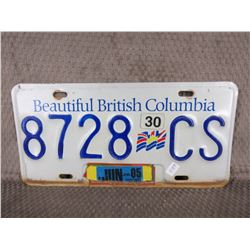 British Columbia License Plate No Year White & Blue
