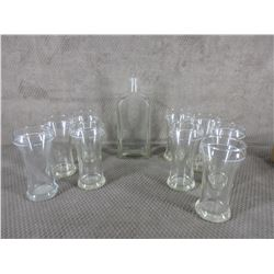 ALCB Set of 9 Beer Glasses and ALCB Bottle