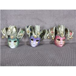 3 - Painted Plastic Face Masks - Wall Décor
