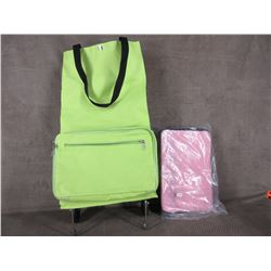 Canvas Wheeled Shopping Tote Pink