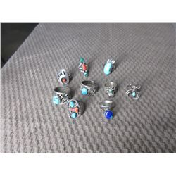 9 - Silver & Turquoise Rings