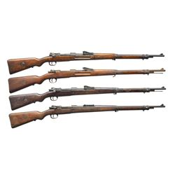 GROUP OF 4 GERMAN WWI GEW 98 BOLT ACTION RIFLES.