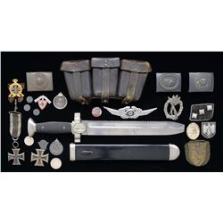 WWII GERMAN RED CROSS DAGGER & VARIOUS MEDALS