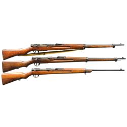 3 UNUSUAL BOLT ACTION JAPANESE MILITARY RIFLES.