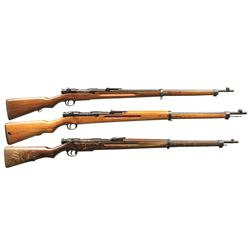 3 JAPANESE TYPE 38 BOLT ACTION MILITARY RIFLES.