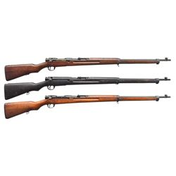 3 JAPANESE TYPE 38 WWII BOLT ACTION RIFLES.