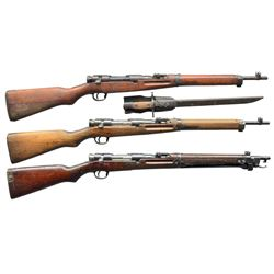 3 WWII JAPANESE BOLT ACTION CARBINES.