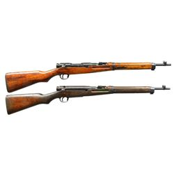 2 JAPANESE TYPE 38 BOLT ACTION CARBINES.