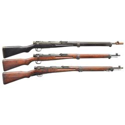 3 JAPANESE WWII BOLT ACTION RIFLES.