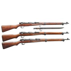 3 WWII JAPANESE TYPE 99 BOLT ACTION RIFLES.