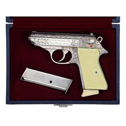 WALTHER ENGRAVED MODEL PPK/S SEMI-AUTO PISTOL.