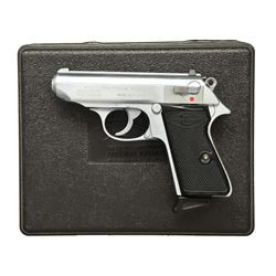 STAINLESS MANURHIN WALTHER PPK/S SEMI AUTO PISTOL.