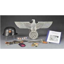 WWII GERMAN EDGED WEAPONS, HELMET, RAILROAD EAGLE,