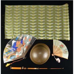 WWII JAPANESE CIVIL HELMET, CLOTH PILOT WINGS &