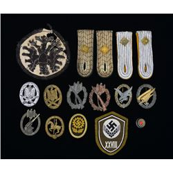 WWII GERMAN BADGES, SHOULDER BOARDS & MORE.