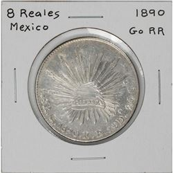 1890 Go RR Mexico 8 Reales Caps & Rays Silver Coin