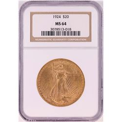 1924 $20 St. Gaudens Double Eagle Coin NGC MS64