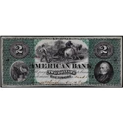 1863 $2 American Bank Baltimore, Maryland Obsolete Note