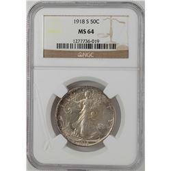 1918-S Walking Liberty Half Dollar Coin NGC MS64