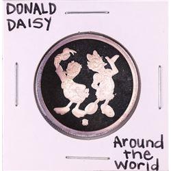 "Rarities Mint Disney Donald & Daisy ""Around The World"" 1/4 oz. .999 Fine Silver Round"