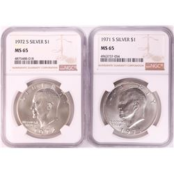 Lot of 1971-S & 1972-S Eisenhower Silver Dollar Coins NGC MS65