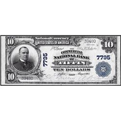 1902PB $10 Commercial NB of Tiffin, Ohio CH# 7795 National Currency Note