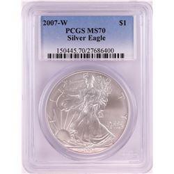 2007-W $1 American Silver Eagle Coin PCGS MS70
