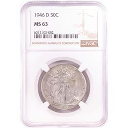 1946-D Walking Liberty Half Dollar Coin NGC MS63