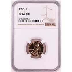 1955 Proof Lincoln Wheat Cent Coin NGC PF69RD
