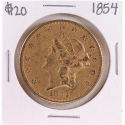 1854 Type 1 $20 Liberty Head Double Eagle Gold Coin