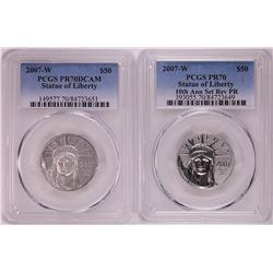 Set of 2007-W $100 Proof Platinum American Eagle Coins PCGS PR70/PR70DCAM