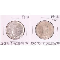 Lot of 1946 & 1946-S Booker T. Washington Commemorative Half Dollar Coins