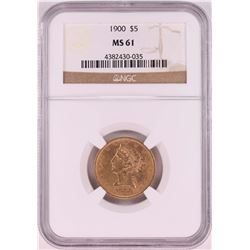 1900 $5 Liberty Head Half Eagle Coin NGC MS61